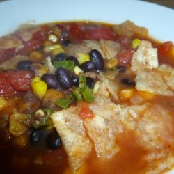 Tortilla, Black Bean, Corn and Tomato Soup