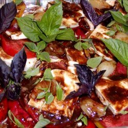 Tomatoes With Roasted Garlic, Pearl Onions and Mozzarella Cheese
