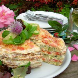 A French Country Affair! Elegant Omelette Gateau W/Chive Flowers