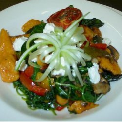 Sweet Potato Gnocchi With Goats Cheese and Wilted Salad