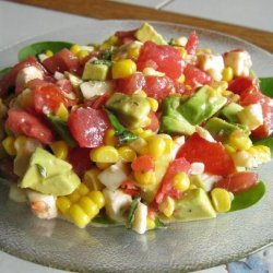 Fresh Mozzarella Salad W/ Avocado, Roasted Corn & Tomato