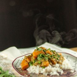 Curried Sweet Potatoes With Green Peas