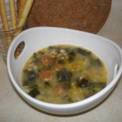 Finger Licking Leek Soup With Sausage and Barley