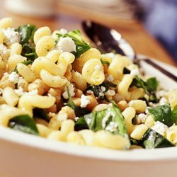 Cavatappi With Spinach, Garbanzo Beans, & Feta
