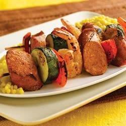 Grilled Chipotle Chorizo Chicken Sausage & Shrimp Kabobs