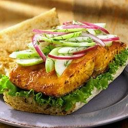 Grilled Salmon Sandwich with Green Apple Slaw