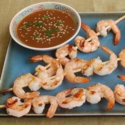 Sake Shrimp Skewers with Citrus-Sake Dipping Sauce recipe