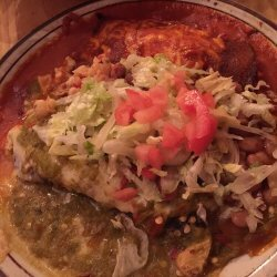 Chicken Enchiladas With Green and Red Sauce