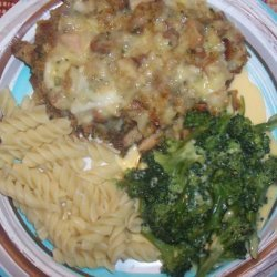 Baked Swiss Chicken over Tri-Colored Spiral Pasta