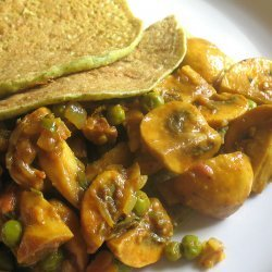 Green Peas With Curried Mushrooms