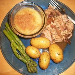 Oven Pork Roast With Applesauce, Baby Potatoes, Gravy and Aspara