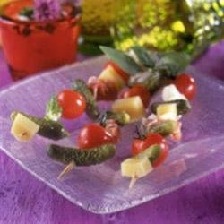 Ham and Cheese Skewers with Crunchy Maille(R) Cornichons