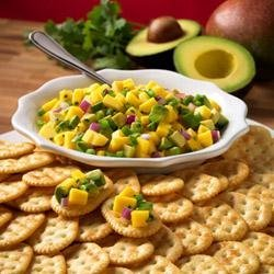 Town House(R) Crackers with Avocado and Mango Salsa