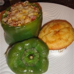 Feta and Turkey Stuffed Green Peppers
