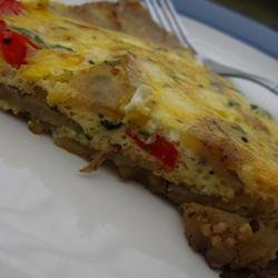 Roasted Red Pepper and Goat Cheese Frittata