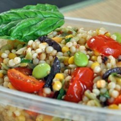 Israeli Couscous Salad With Roasted Cherry Tomatoes