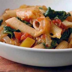 Ziti Baked With Spinach, Tomatoes and Smoked Gouda