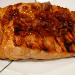 Bourbon Glazed Salmon With Peanuts and Bacon