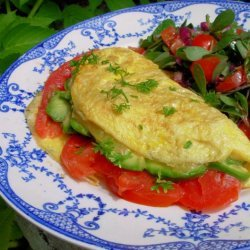 Avocado, Cheddar, and Tomato Omelet