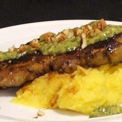 Chargrilled Sirloin With Mash and Salsa Verde