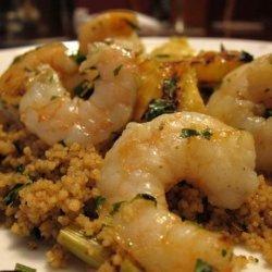 Shrimp Kabobs W/Lime Butter Sauce & Cilantro Couscous