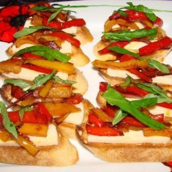 Bruschetta With Sweet Peppers and Fresh Mozzarella