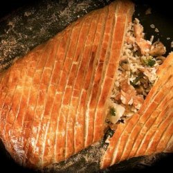 Salmon Wrapped in Pastry With Rice