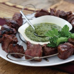 Spice-Rubbed Rib-Eye Kabobs With Salsa Verde