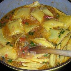Cherry Tomato and Ravioli Soup