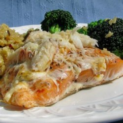 Baked Salmon Topped With Crab