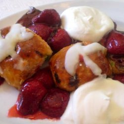 Hot Cross Buns and Roasted Strawberries recipe