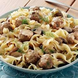 Meatball and Mushroom Stroganoff with Dill Sauce and Noodles