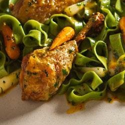 Roast Lemon-Parsley Chicken Drums and Carrots with Fettuccine recipe