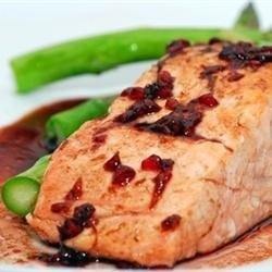 Salmon with Raspberry Ginger Glaze