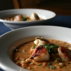 Seared Scallops With Coconut-Mussel Stew