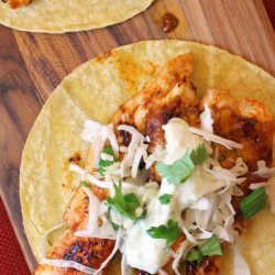 Chicken Tacos With Cilantro Slaw and Avocado Cream