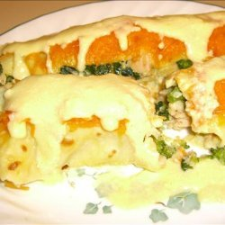 Chicken, Spinach, Broccoli, and Cheese Crepes With Hollandaise S