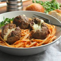 Cheese Stuffed Meatballs and Spaghetti