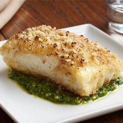 Crusted Halibut Filet with Arugula Pesto recipe