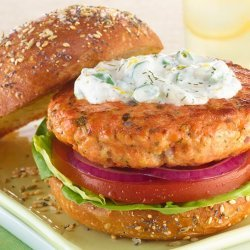 Salmon Burgers With Dill Cream Cheese Topping