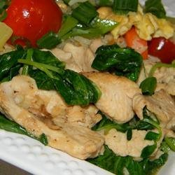 Pea Shoots and Chicken in Garlic Sauce