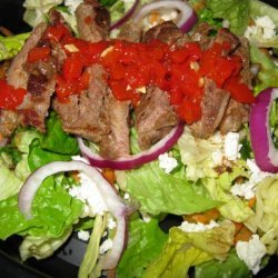 Beef, Arugula and Red Pepper Pesto Salad