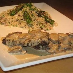 Ostrich Steaks With Mushroom Vanilla Sauce and Wild Rice With As recipe