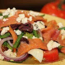 Alaskan Smoked Salmon Nicoise With Crumbled Feta Cheese recipe