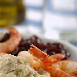 Prawns, Bean Purée and Onions in Red Wine