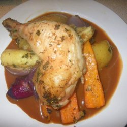 Tray Roasted Chicken Legs and Winter Vegetables recipe