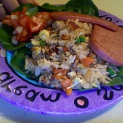Bacon Fried Rice With a Side of Tomatoes in Fish Sauce...