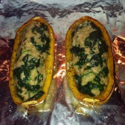 Roasted Delicata Squash Stuffed W/ Beans & Spinach