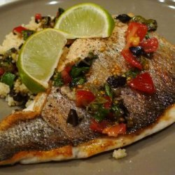 Pan Fried Seabass Fillet With Salsa Sauce and Couscous recipe
