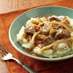 Beef and Noodles over Skin-On Mashed Potatoes